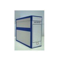 Boîte d'archive pour les plans – avec bordure bleu – avec anneau