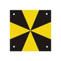 Cibles en aluminium noir / jaune – 100 x 100 mm